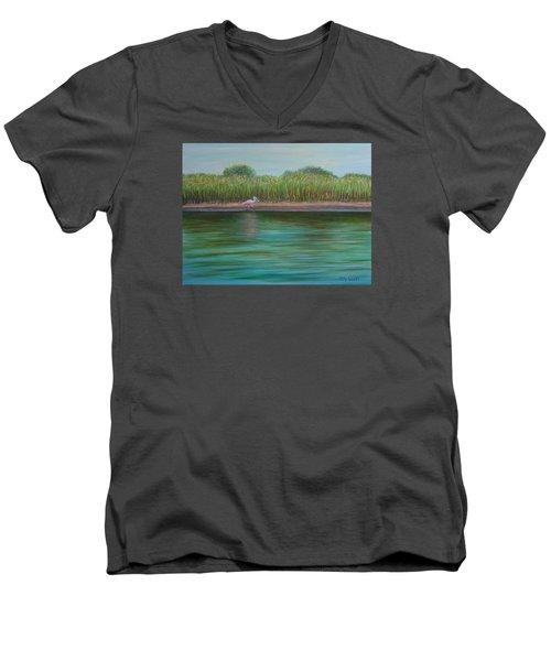 Roseate Spoonbill On East Creek Men's V-Neck T-Shirt