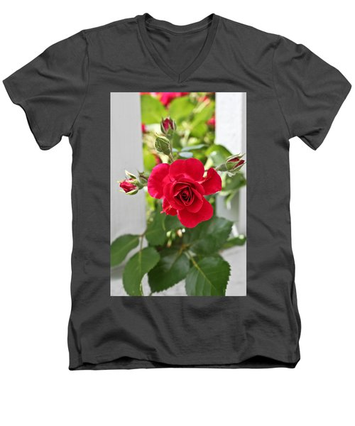 Men's V-Neck T-Shirt featuring the photograph Roses Are Red by Joann Copeland-Paul