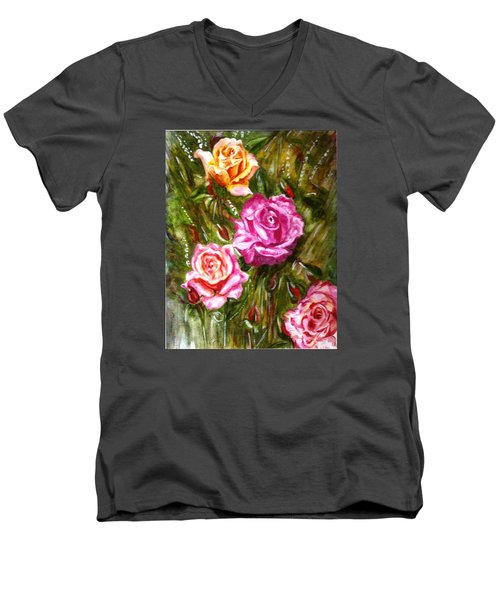 Men's V-Neck T-Shirt featuring the painting Roses by Harsh Malik