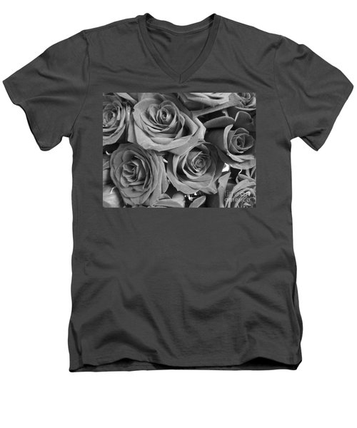 Men's V-Neck T-Shirt featuring the photograph Roses On Your Wall Black And White  by Joseph Baril