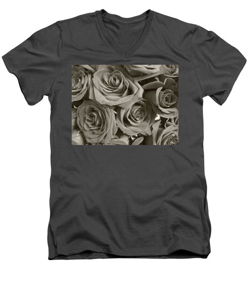 Men's V-Neck T-Shirt featuring the photograph Roses On Your Wall Sepia by Joseph Baril