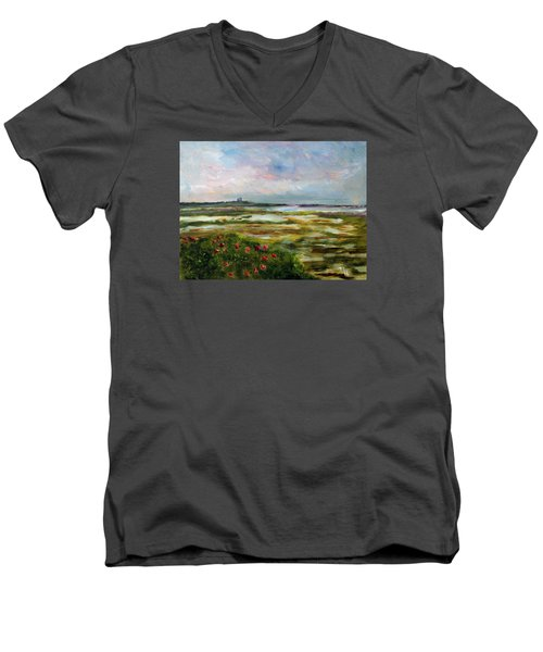 Men's V-Neck T-Shirt featuring the painting Roses Over The Marsh by Michael Helfen