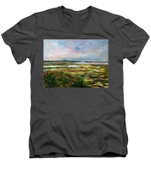 Roses Over The Marsh Men's V-Neck T-Shirt