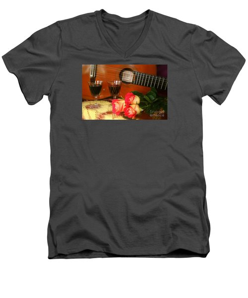 Men's V-Neck T-Shirt featuring the photograph Guitar 'n Roses by The Art of Alice Terrill