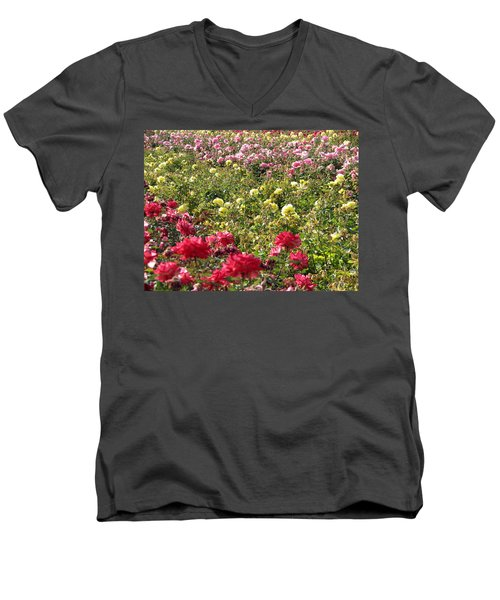 Men's V-Neck T-Shirt featuring the photograph Roses Roses Roses by Laurel Powell