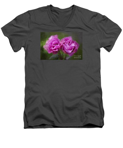 Men's V-Neck T-Shirt featuring the photograph Rosey Twins by Adria Trail
