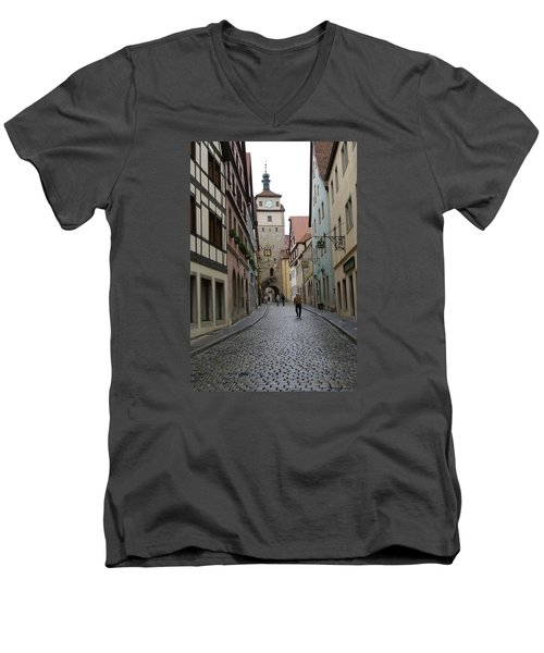 Men's V-Neck T-Shirt featuring the photograph Rothenburg Ob Der Tauber by Heidi Poulin