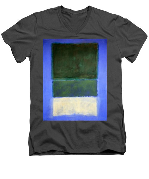 Rothko's No. 14 -- White And Greens In Blue Men's V-Neck T-Shirt by Cora Wandel