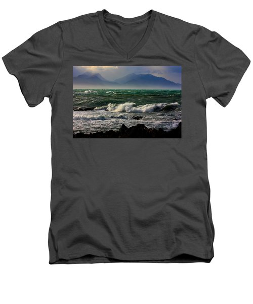 Men's V-Neck T-Shirt featuring the photograph Rough Seas Kaikoura New Zealand by Amanda Stadther
