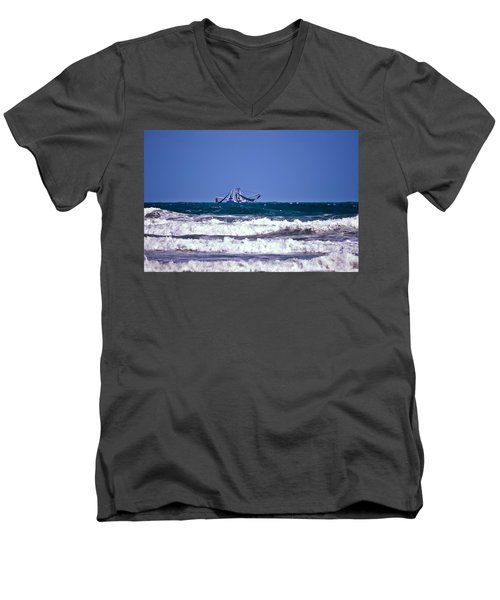 Men's V-Neck T-Shirt featuring the photograph Rough Seas Shrimping by DigiArt Diaries by Vicky B Fuller