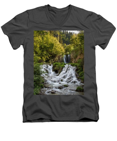 Men's V-Neck T-Shirt featuring the photograph Roughlock Falls South Dakota by Patti Deters