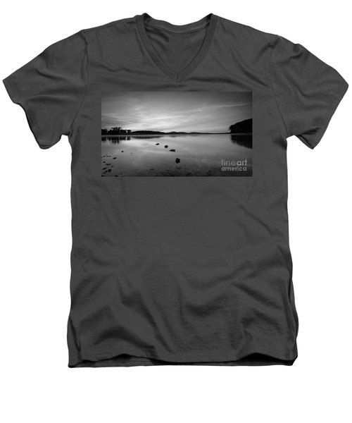 Round Valley At Dawn Bw Men's V-Neck T-Shirt by Michael Ver Sprill