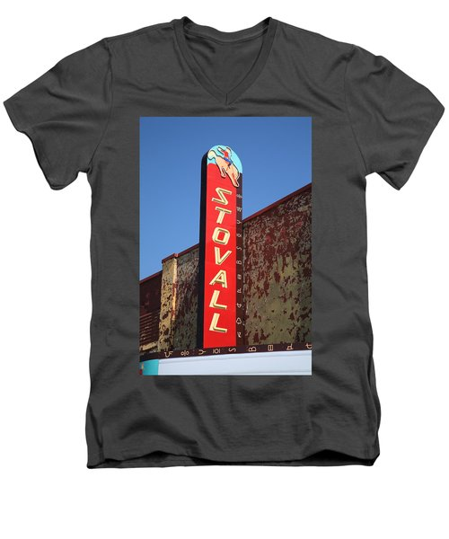 Route 66 - Stovall Theater Men's V-Neck T-Shirt by Frank Romeo