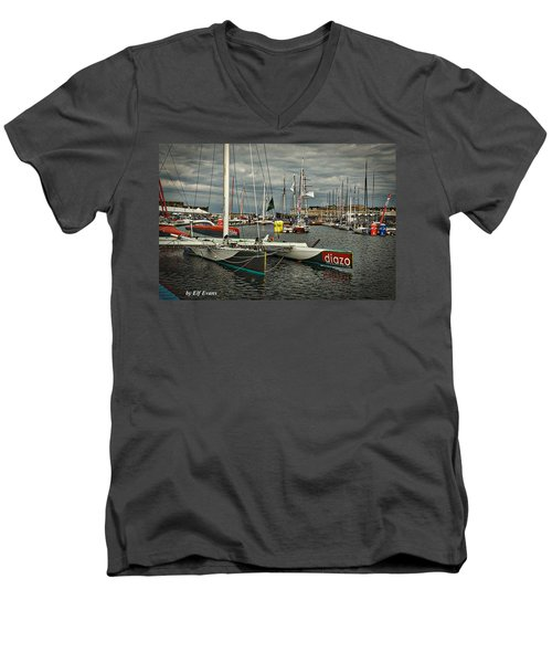 Men's V-Neck T-Shirt featuring the photograph Route Du Rhum Ready by Elf Evans