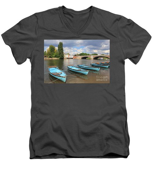 Rowing Boats At Hampton Court Men's V-Neck T-Shirt