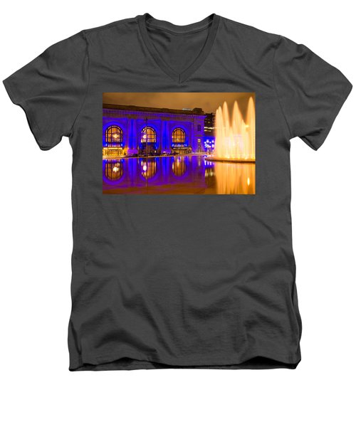 Royal Blue Reflections Union Station Men's V-Neck T-Shirt