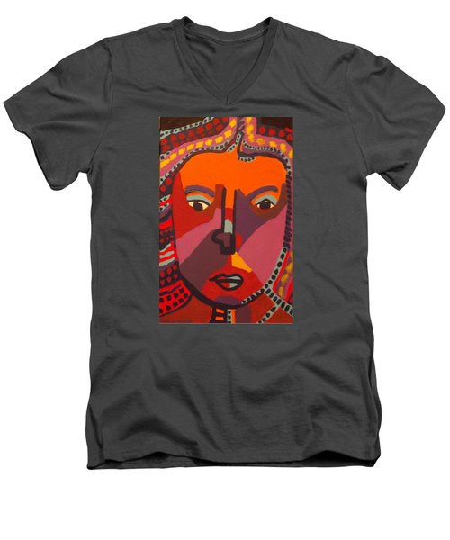 Men's V-Neck T-Shirt featuring the painting Royal Buddha by Don Koester