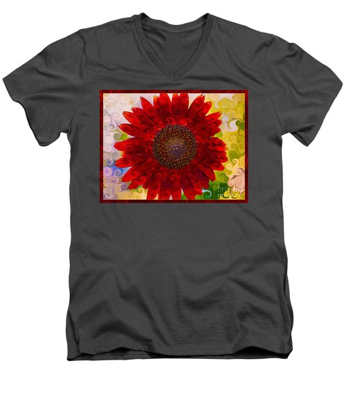 Royal Red Sunflower Men's V-Neck T-Shirt