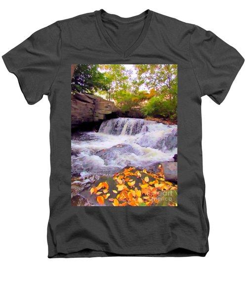 Royal River White Waterfall Men's V-Neck T-Shirt