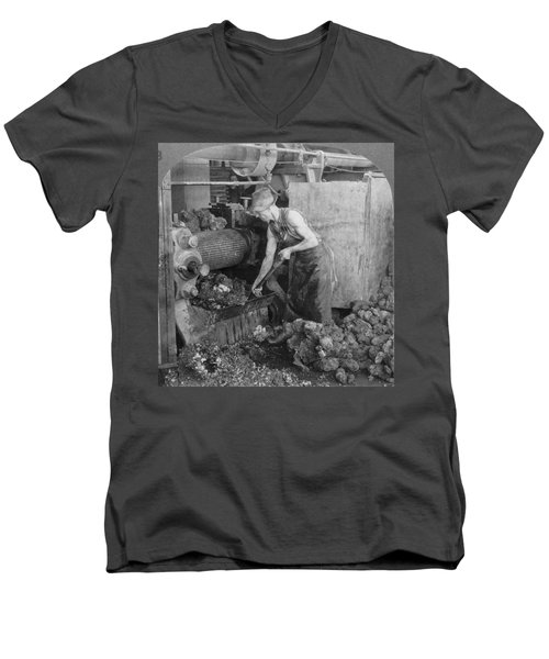 Men's V-Neck T-Shirt featuring the painting Rubber Production, C1928 by Granger