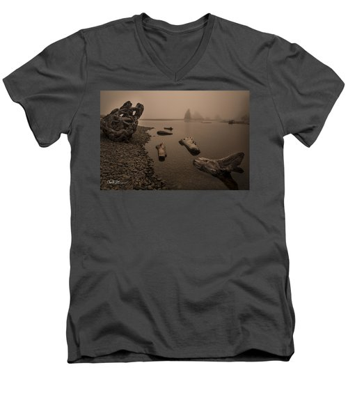 Ruby Beach Fog Men's V-Neck T-Shirt by Charlie Duncan