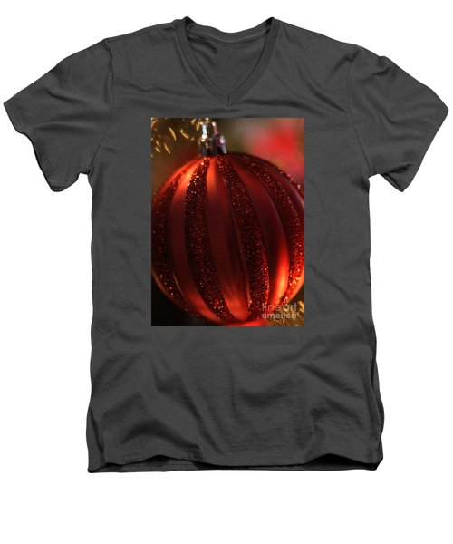 Men's V-Neck T-Shirt featuring the photograph Ruby Red Christmas by Linda Shafer