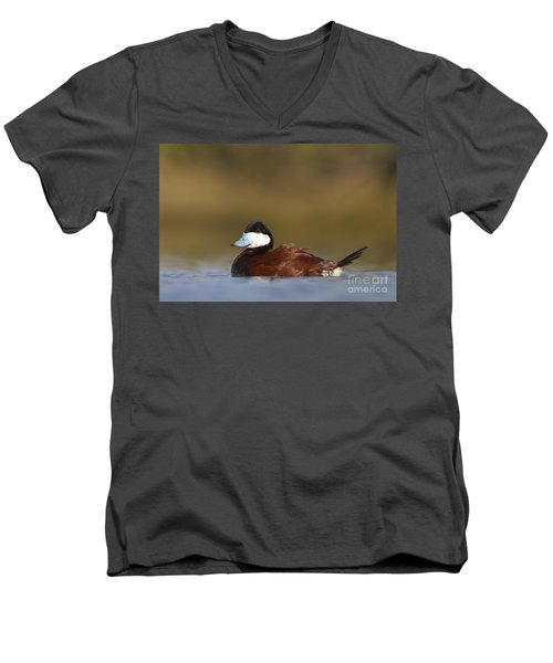 Men's V-Neck T-Shirt featuring the photograph Ruddy Duck  by Bryan Keil