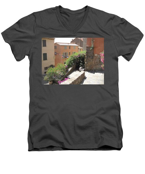 Rue De La Rose Men's V-Neck T-Shirt by HEVi FineArt