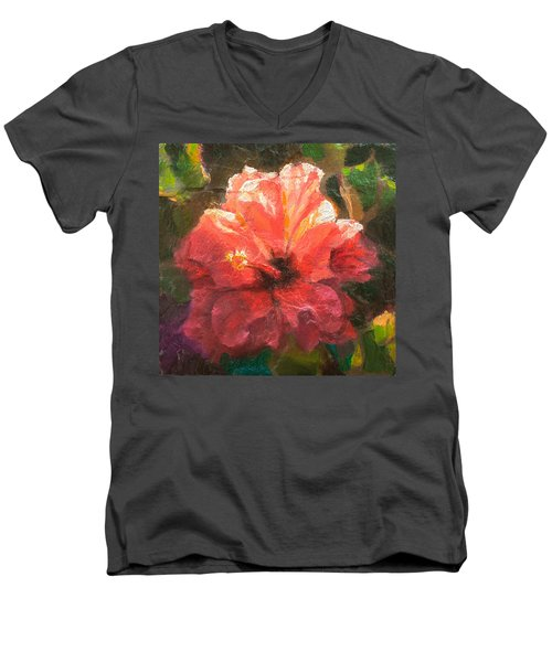 Ruffled Light Double Hibiscus Flower Men's V-Neck T-Shirt