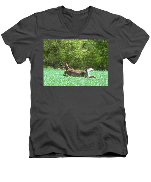 Men's V-Neck T-Shirt featuring the photograph Run Forest Run by Neal Eslinger