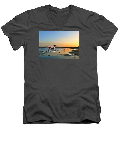 Run Like The Wind Men's V-Neck T-Shirt by Morag Bates