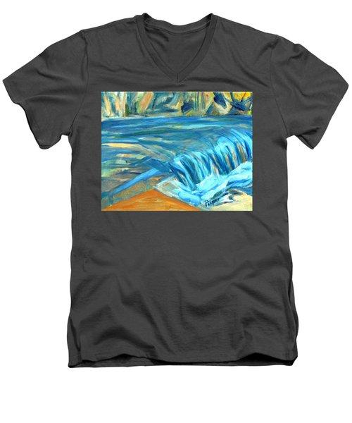 Run River Run Over Rocks In The Sun Men's V-Neck T-Shirt by Betty Pieper