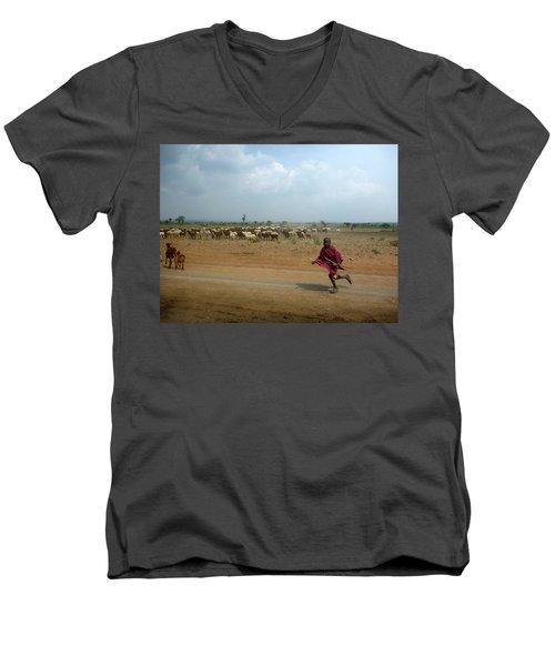Running Boy Men's V-Neck T-Shirt