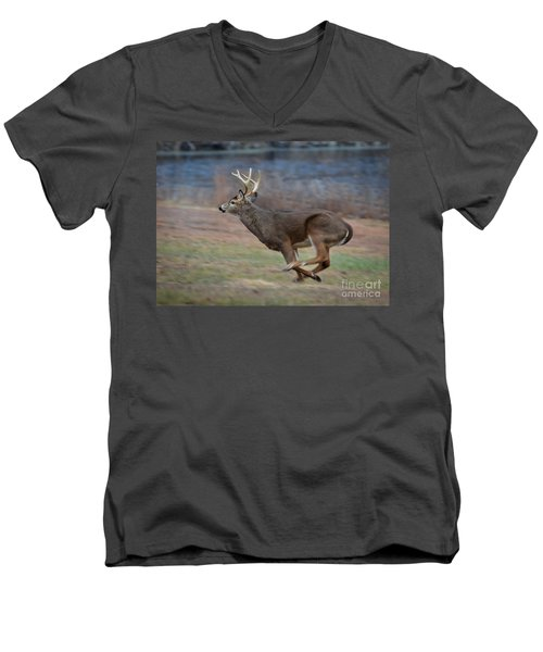 Running Buck Men's V-Neck T-Shirt