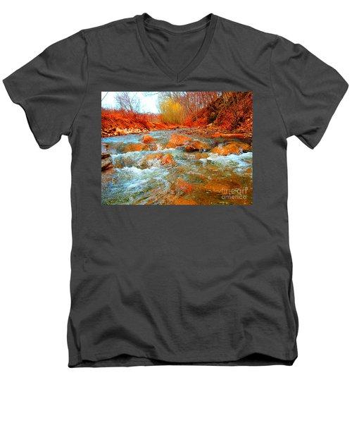 Running Creek 2 By Christopher Shellhammer Men's V-Neck T-Shirt