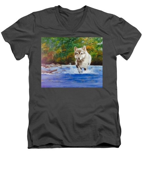Running Free Men's V-Neck T-Shirt by Catherine Swerediuk