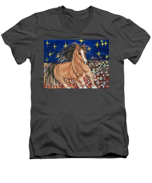 Men's V-Neck T-Shirt featuring the painting Running Horse by Oksana Semenchenko