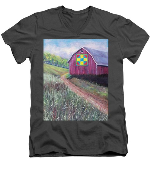 Men's V-Neck T-Shirt featuring the painting Rural America's Gift by Susan DeLain