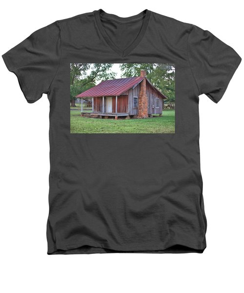 Men's V-Neck T-Shirt featuring the photograph Rural Georgia Cabin by Gordon Elwell