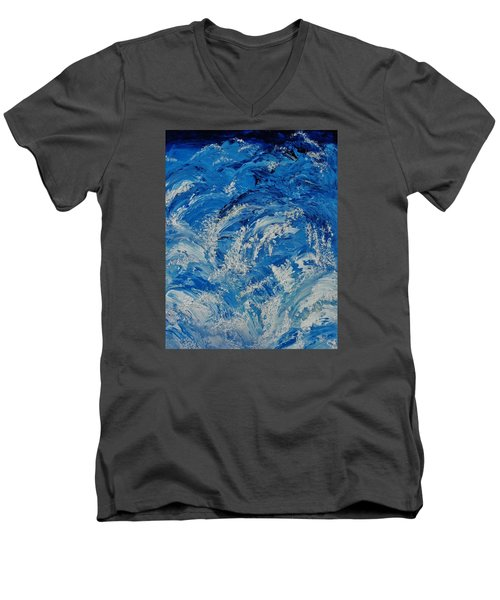 Men's V-Neck T-Shirt featuring the painting Rush by Katherine Young-Beck