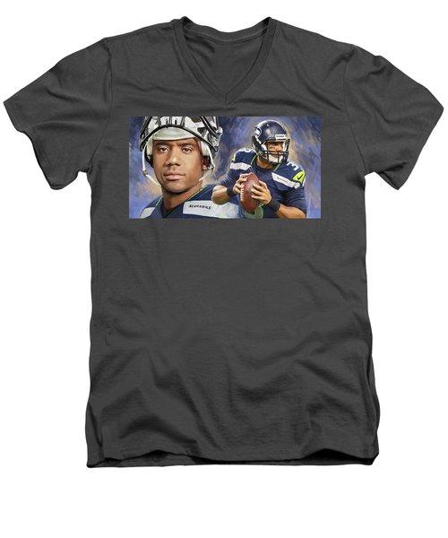 Russell Wilson Artwork Men's V-Neck T-Shirt