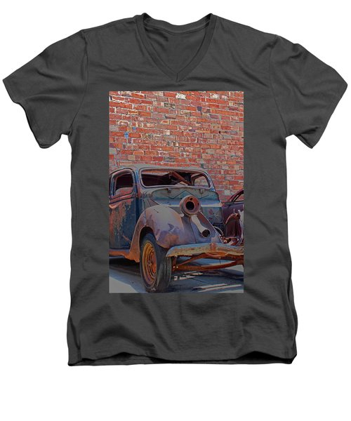 Men's V-Neck T-Shirt featuring the photograph Rust In Goodland by Lynn Sprowl