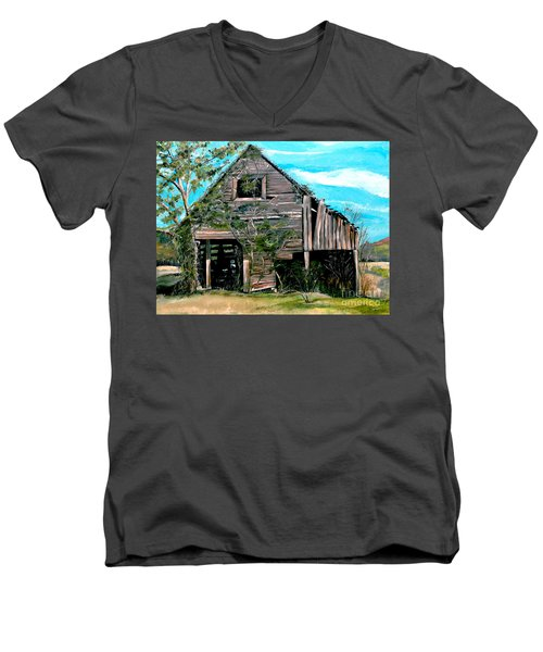 Men's V-Neck T-Shirt featuring the painting Rustic Barn - Mooresburg - Tennessee by Jan Dappen