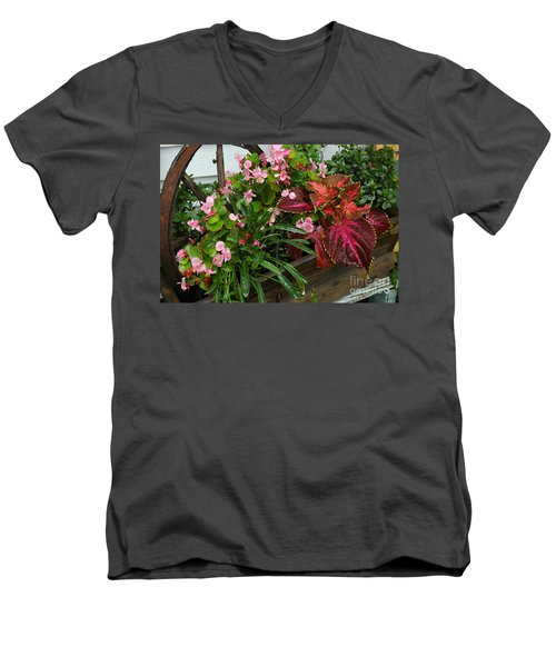 Men's V-Neck T-Shirt featuring the photograph Rustic Garden by Christiane Hellner-OBrien