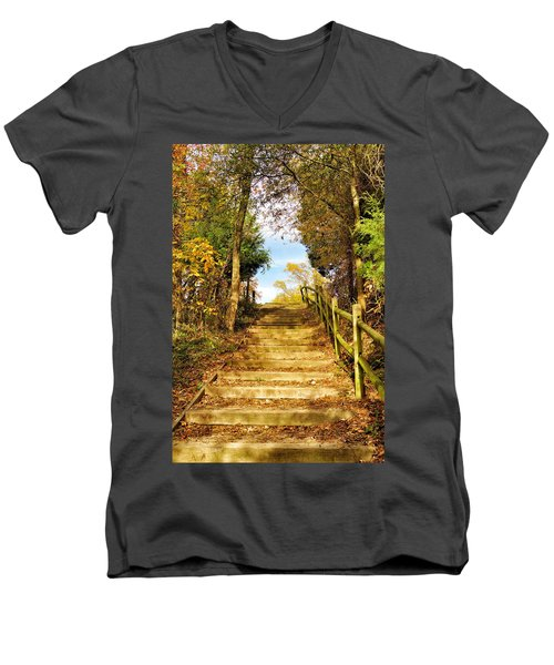 Men's V-Neck T-Shirt featuring the photograph Rustic Stairway by Jean Goodwin Brooks