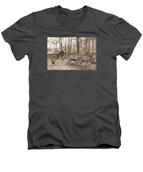 Rustic Wagon Men's V-Neck T-Shirt by Debbie Green