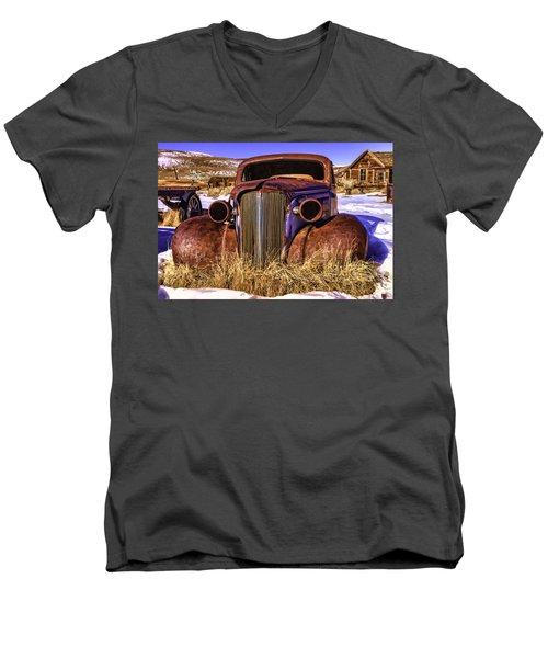Men's V-Neck T-Shirt featuring the painting Rusty by Muhie Kanawati