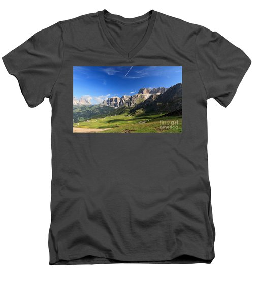 Saas Pordoi And Fassa Valley Men's V-Neck T-Shirt