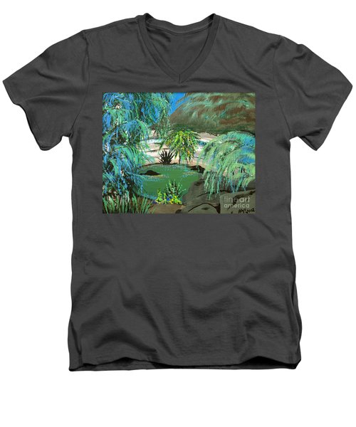 Men's V-Neck T-Shirt featuring the painting Sacred Cenote At Chichen Itza by Alys Caviness-Gober