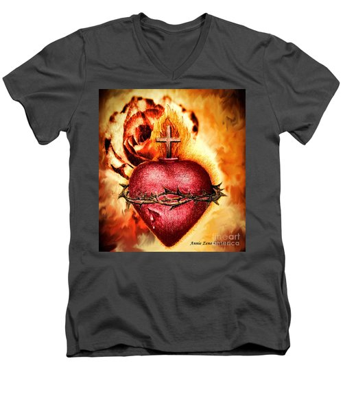 Sacred Heart Of Jesus Christ With Rose Men's V-Neck T-Shirt by Annie Zeno